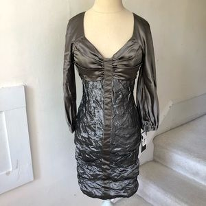 Nicole Miller Silk Long Sleeve Metallic Dress NWT